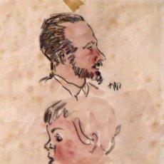 Arte: CRISTÒFOL ALMIRALL MESTRE. DIBUJO A LÁPIZ Y ACUARELA PADRE E HIJO. FIRMADO A MANO. 20X15 CM.. Lote 133014706