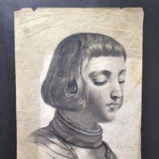 Arte: DIBUJO SIGLO XIX -JUANA DE ARCO - CARBONCILLO - DIBUJO ACADEMIA. Lote 133016150