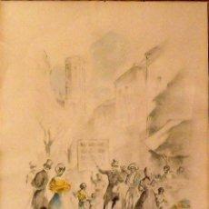 Arte: MARTÍN VIÑA. DIBUJO ESCENA COSTUMBRISTA. LÁPIZ Y ACUARELA. FIRMADA A MANO. 1946. BUEN ESTADO. 24X19.. Lote 133017586