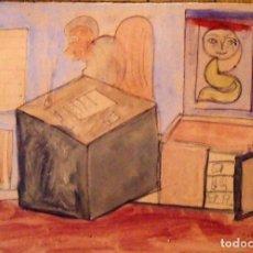 Arte: LUIS DOMINGO MILLÁN. DIBUJO TÉCNICA MIXTA HABITACIÓN. 1978. FIRMADO A MANO. 16X21 CM. BUEN ESTADO.. Lote 133017930