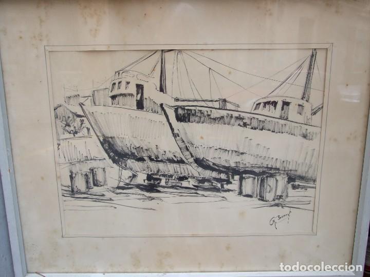 DIBUJO TINTA SOBRE PAPEL - ANA MARIA BURRUT - DOS BARCOS EN DIQUE SECO - IBIZA FIRMADO (Arte - Dibujos - Contemporáneos siglo XX)