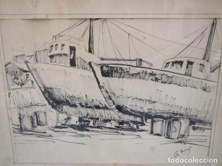 Arte: DIBUJO TINTA SOBRE PAPEL - ANA MARIA BURRUT - DOS BARCOS EN DIQUE SECO - IBIZA FIRMADO - Foto 2 - 133217814