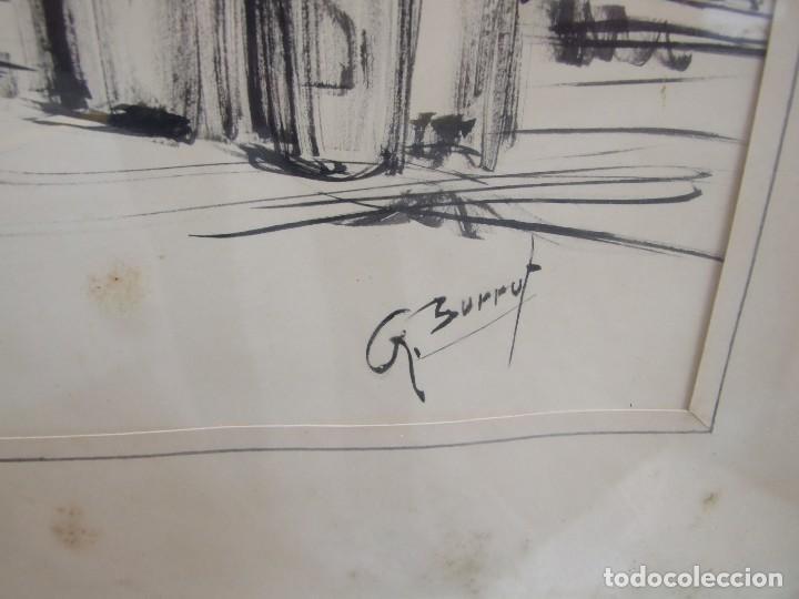 Arte: DIBUJO TINTA SOBRE PAPEL - ANA MARIA BURRUT - DOS BARCOS EN DIQUE SECO - IBIZA FIRMADO - Foto 3 - 133217814
