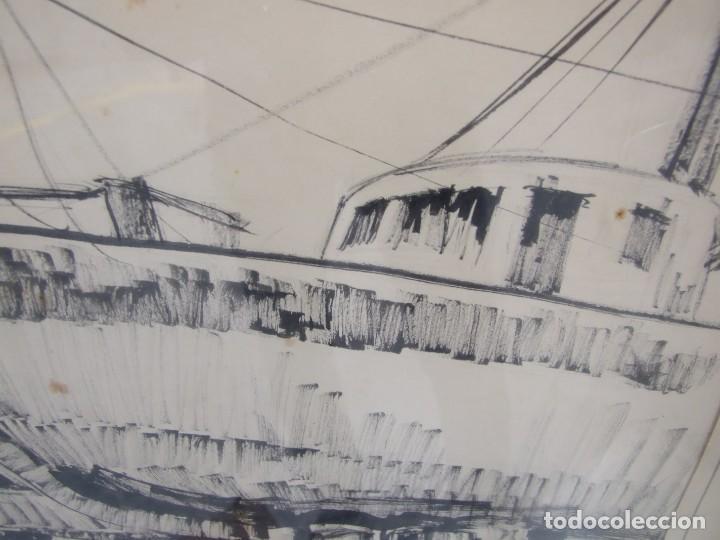 Arte: DIBUJO TINTA SOBRE PAPEL - ANA MARIA BURRUT - DOS BARCOS EN DIQUE SECO - IBIZA FIRMADO - Foto 4 - 133217814