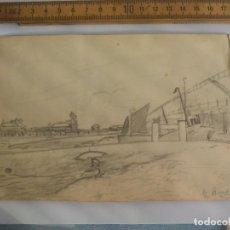 Arte: ANTIGUO DIBUJO ORIGINAL DE LOS AÑOS 40, FIRMADO G. BUNTINA. Lote 133291250
