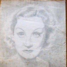 Arte: FRANCISCO DELGADO. DIBUJO A LÁPIZ MARLENE DIETRICH. 1940. EN BUEN ESTADO CON SIGNOS DE LA EDAD.. Lote 133416030