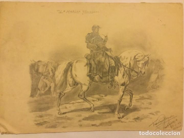 DIBUJO LAPIZ ORIGINAL LA MARCHA FORZADA FIRMA FRANCISCO ROMAN ( REUS ) ESCUELA SALAMANCA 1944 (Arte - Dibujos - Contemporáneos siglo XX)