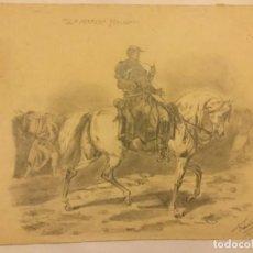Arte: DIBUJO LAPIZ ORIGINAL LA MARCHA FORZADA FIRMA FRANCISCO ROMAN ( REUS ) ESCUELA SALAMANCA 1944. Lote 133446558