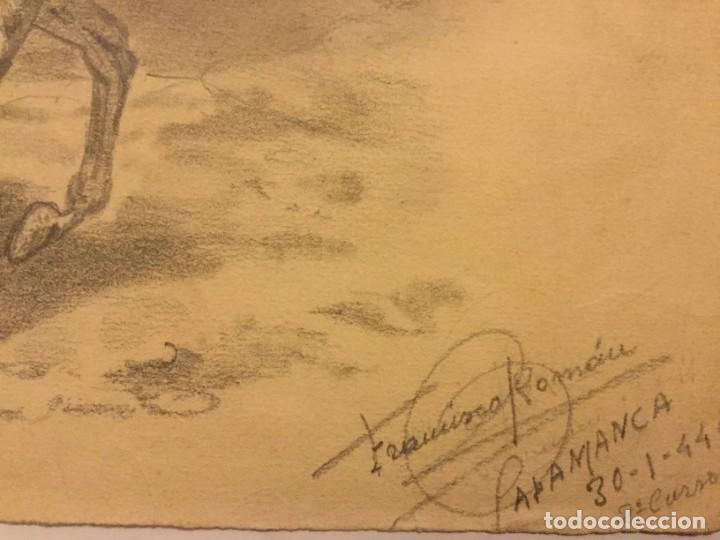 Arte: DIBUJO LAPIZ ORIGINAL LA MARCHA FORZADA FIRMA FRANCISCO ROMAN ( REUS ) ESCUELA SALAMANCA 1944 - Foto 2 - 133446558
