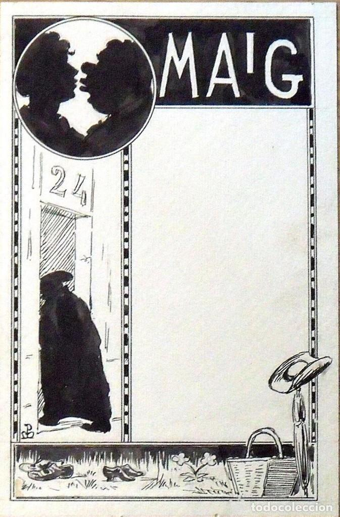 DIBUJO TINTA JOAN PELLICER MONTSENY. MAIG. PARA LA ESQUELLA DE LA TORRATXA. FIRMADO A MANO. (Arte - Dibujos - Modernos siglo XIX)