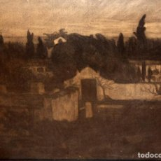 Arte: ROMÀ BONET SINTES -BON- (BARCELONA 1886 - 1967) DIBUJO A CARBON. VISTA DE UN CEMENTERIO. Lote 133531090