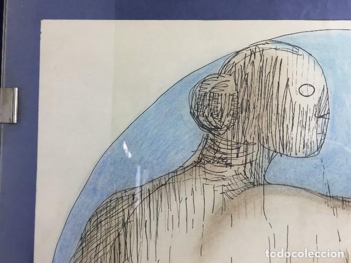 Arte: figura mujer desnuda recostada dibujo tinta lápiz graso difuminado firma mendoza 69 - Foto 4 - 133601334