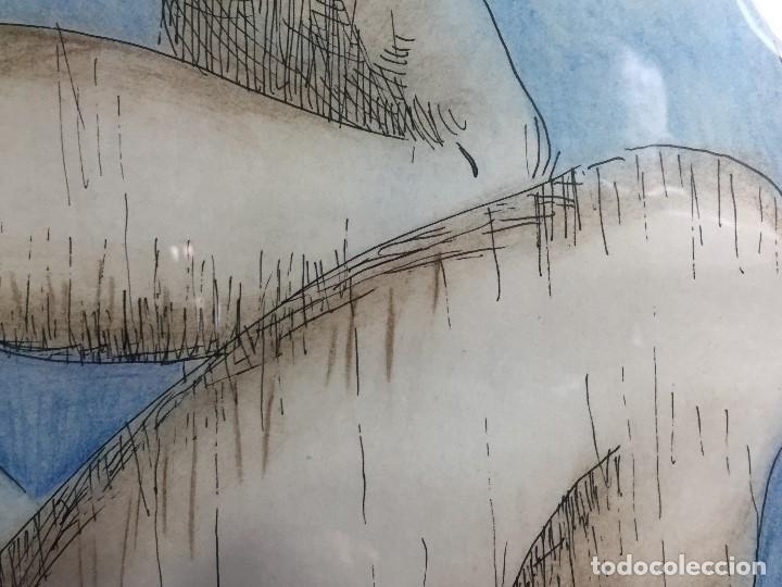 Arte: figura mujer desnuda recostada dibujo tinta lápiz graso difuminado firma mendoza 69 - Foto 6 - 133601334