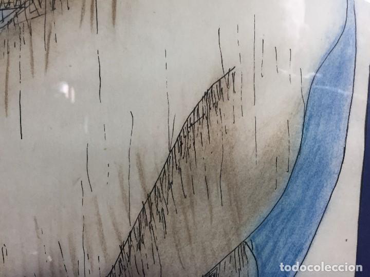 Arte: figura mujer desnuda recostada dibujo tinta lápiz graso difuminado firma mendoza 69 - Foto 7 - 133601334
