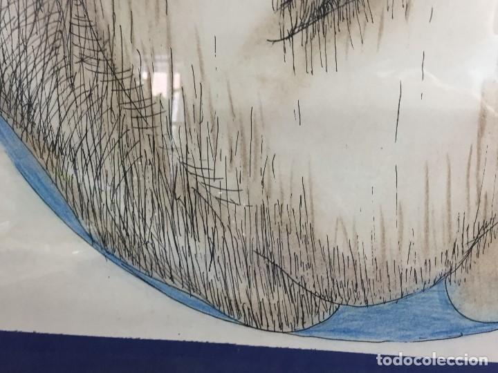 Arte: figura mujer desnuda recostada dibujo tinta lápiz graso difuminado firma mendoza 69 - Foto 10 - 133601334