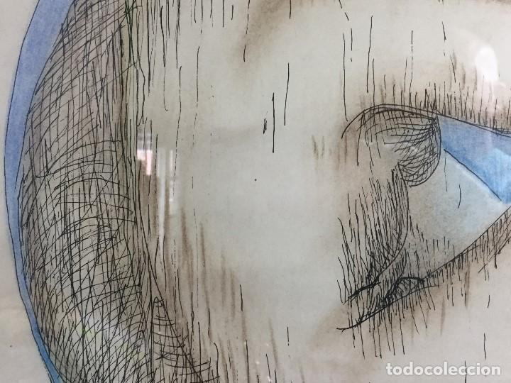 Arte: figura mujer desnuda recostada dibujo tinta lápiz graso difuminado firma mendoza 69 - Foto 11 - 133601334