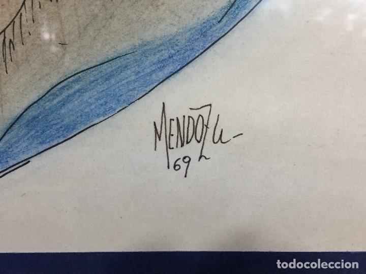 Arte: figura mujer desnuda recostada dibujo tinta lápiz graso difuminado firma mendoza 69 - Foto 12 - 133601334