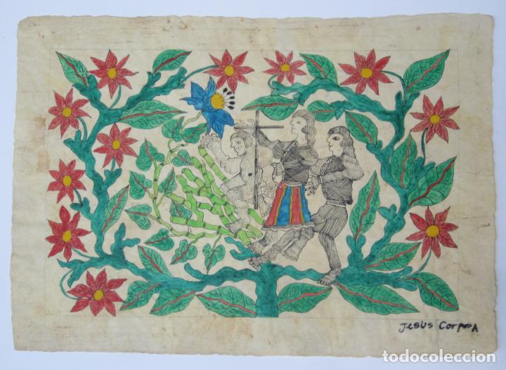 DIBUJO CONQUISTADORES, FIRMA ILEGIBLE. 56,5X40CM (Arte - Dibujos - Contemporáneos siglo XX)