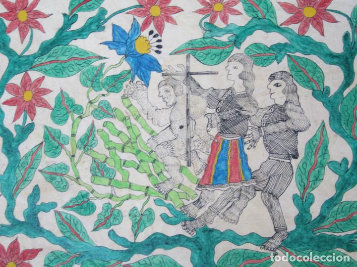Arte: Dibujo conquistadores, firma ilegible. 56,5x40cm - Foto 3 - 133800146