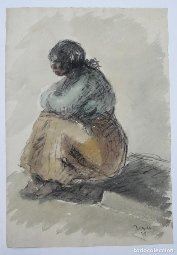 MUJER SENTADA, TÉCNICA MIXTA, 1948, FIRMA ILEGIBLE. 50X34,5CM (Arte - Dibujos - Contemporáneos siglo XX)