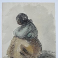 Arte - Mujer sentada, técnica mixta, 1948, firma ilegible. 50x34,5cm - 133811382