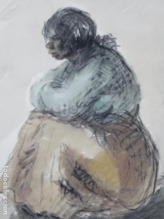 Arte: Mujer sentada, técnica mixta, 1948, firma ilegible. 50x34,5cm - Foto 2 - 133811382