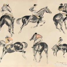 Arte: RICARDO OPISSO I SALA (TARRAGONA, 1880 - BCN, 1966) TÉCNICA MIXTA SOBRE PAPEL. APUNTES DE JINETES. Lote 94565567