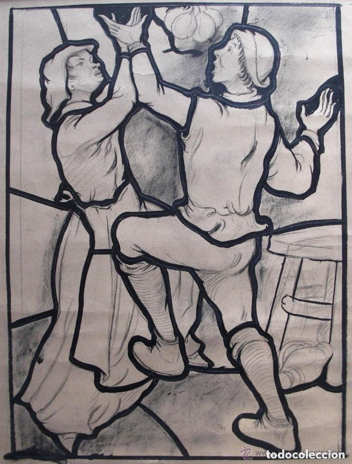 ESCUELA EUROPEA. DISEÑO PARA VIDRIERA. CARBONCILLO Y TINTA/PAPEL 45 X 36 CM. (Arte - Dibujos - Modernos siglo XIX)