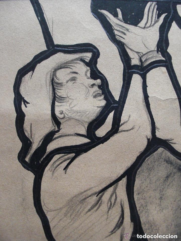 Arte: Escuela Europea. Diseño para vidriera. Carboncillo y tinta/papel 45 x 36 cm. - Foto 2 - 133910250