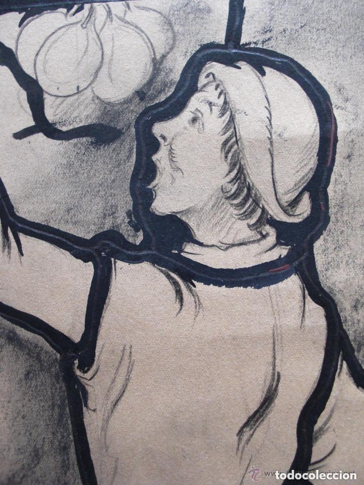 Arte: Escuela Europea. Diseño para vidriera. Carboncillo y tinta/papel 45 x 36 cm. - Foto 3 - 133910250