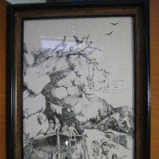 Arte: DIBUJO POR FRANCISCO JIMÉNEZ DE CÓRDOBA. MARCO 63X43 CM. DIBUJO 56X35 CM. Lote 134041682