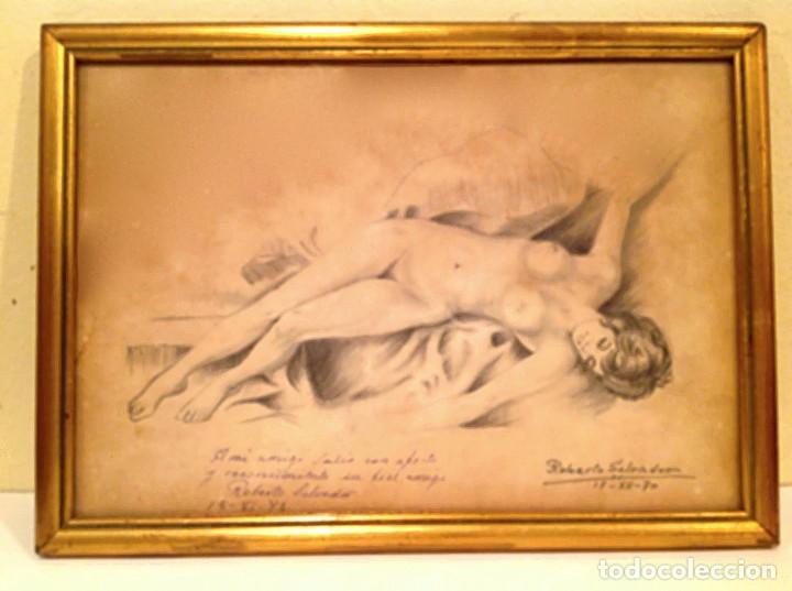 ORIGINAL CUADRO DIBUJO DESNUDO FIRMADO ROBERTO SALVADOR (Arte - Dibujos - Modernos siglo XIX)