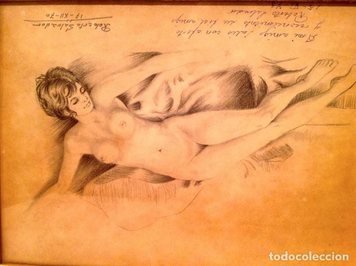 Arte: Original Cuadro Dibujo Desnudo Firmado Roberto Salvador - Foto 2 - 134101702