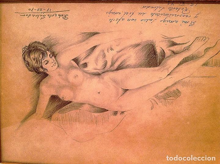 Arte: Original Cuadro Dibujo Desnudo Firmado Roberto Salvador - Foto 3 - 134101702