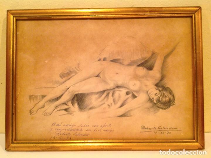 Arte: Original Cuadro Dibujo Desnudo Firmado Roberto Salvador - Foto 4 - 134101702