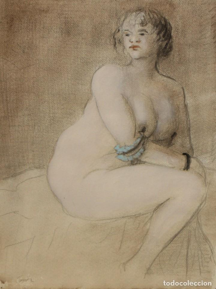 ILEGIBLE. TECNICA MIXTA SOBRE CARTULINA. DESNUDO FEMENINO (Arte - Dibujos - Contemporáneos siglo XX)
