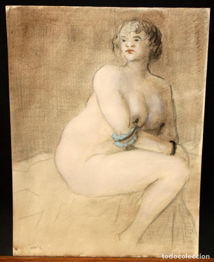 Arte: ILEGIBLE. TECNICA MIXTA SOBRE CARTULINA. DESNUDO FEMENINO - Foto 2 - 134150522