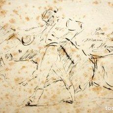 Arte: FIRMADO R. HERNANDEZ. DIBUJO A TINTA. PASE TAURINO. Lote 134153994