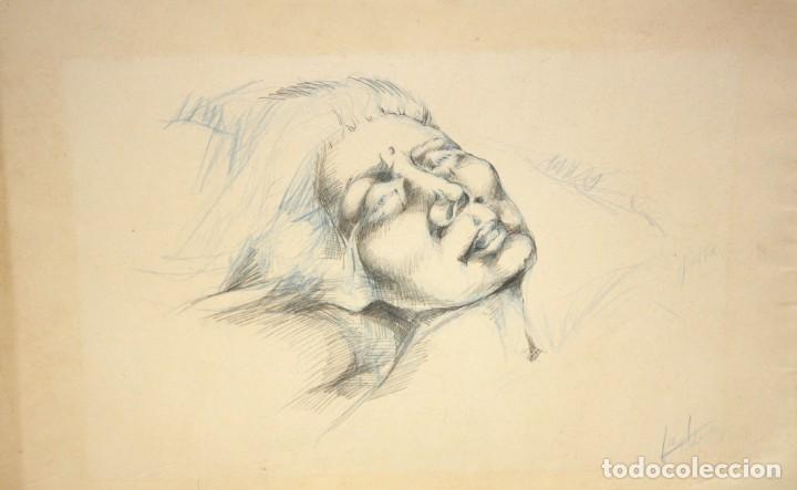 ILEGIBLE. TECNICA MIXTA SOBRE PAPEL. RETRATO FEMENINO (Arte - Dibujos - Contemporáneos siglo XX)