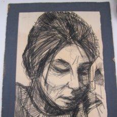 Arte: JOAN GRANADOS LLIMONA (1931-2005), RETRATO MUJER, DIBUJO AL CARBONCILLO. 60X45CM. Lote 134316106