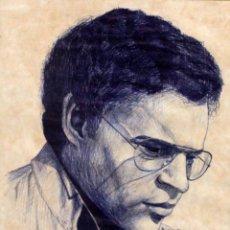 Arte: RETRATO DE HOMBRE DIBUJADO A BOLI, BUENA CALIDAD, FIRMADO Y ENMARCADO. 32X38CM. Lote 134381370