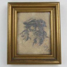 Arte - Retrato hombre, 1947, firma ilegible, dibujo a lápiz. 12x14cm - 134545158