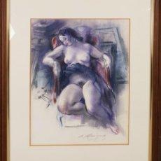 Arte: MUJER DESNUDA. DIBUJO AL PASTEL SOBRE PAPEL. FIRMA ILEGIBLE. SIGLO XX. . Lote 134552578
