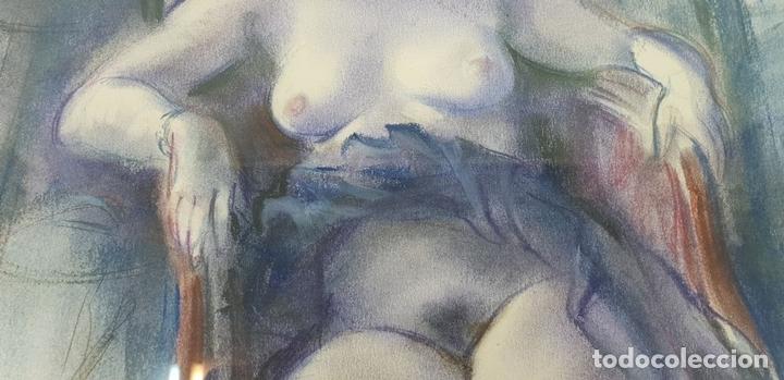 Arte: MUJER DESNUDA. DIBUJO AL PASTEL SOBRE PAPEL. FIRMA ILEGIBLE. SIGLO XX. - Foto 4 - 134552578