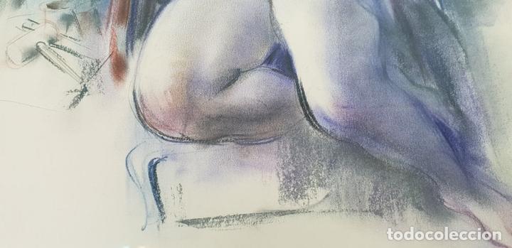 Arte: MUJER DESNUDA. DIBUJO AL PASTEL SOBRE PAPEL. FIRMA ILEGIBLE. SIGLO XX. - Foto 5 - 134552578