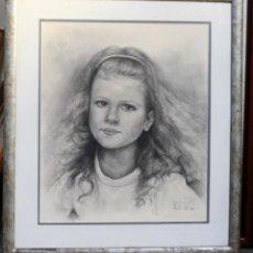 Arte: FIRMA ILAGIBLE, ALICANTE, RETRATO DE NIÑA, DIBUJO A LAPIZ SOBRE PAPEL, ENMARCADO, 57X64. Lote 134643202