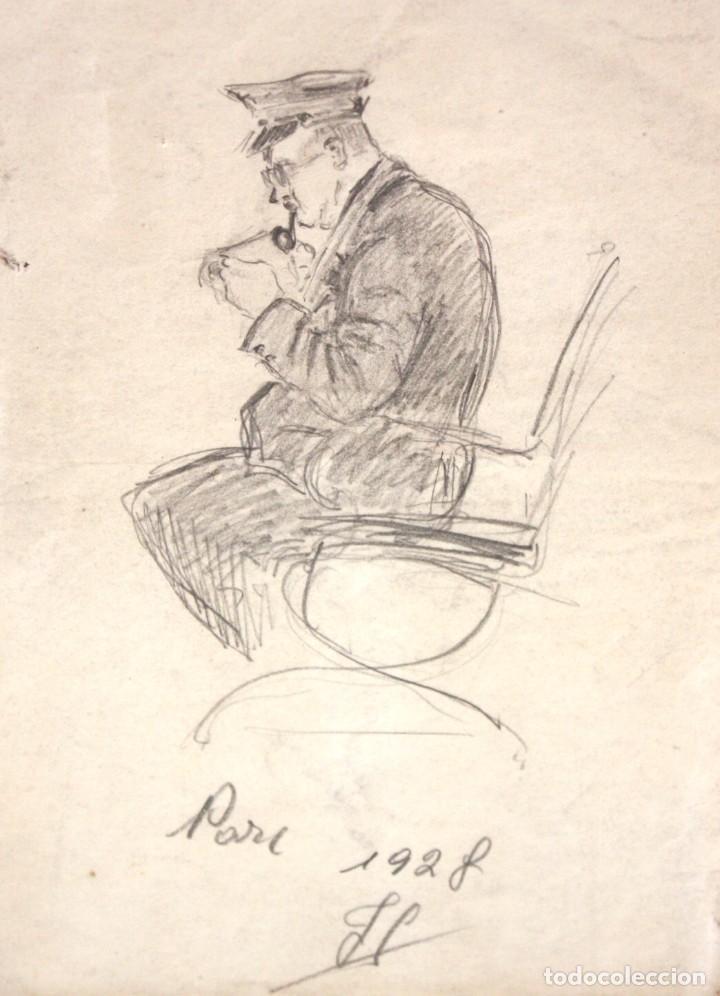 ILEGIBLE FECHADO DEL AÑO 1928. DIBUJO A LAPIZ. PERSONAJE SENTADO (Arte - Dibujos - Contemporáneos siglo XX)