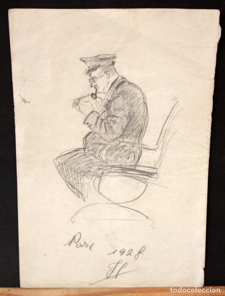 Arte: ILEGIBLE FECHADO DEL AÑO 1928. DIBUJO A LAPIZ. PERSONAJE SENTADO - Foto 2 - 134750110