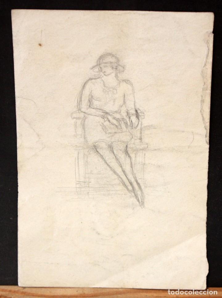 Arte: ILEGIBLE FECHADO DEL AÑO 1928. DIBUJO A LAPIZ. PERSONAJE SENTADO - Foto 4 - 134750110
