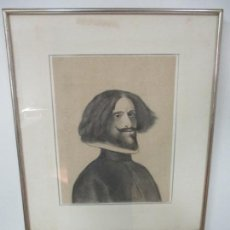 Arte: DIBUJO AL CARBÓN - FIGURA - RETRATO DE CABALLERO ESPAÑOL S. XVI - LÁMINA - CON MARCO - S. XIX. Lote 134770170